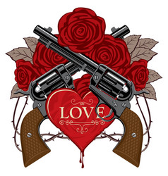 Banner on the theme of love and death with pistols vector