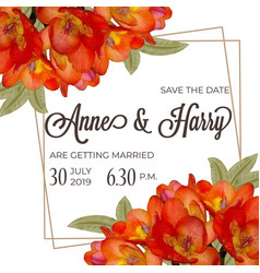beautiful floral wedding invitation in watercolor vector image
