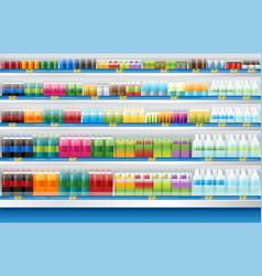 Beverages display on shelf in supermarket vector