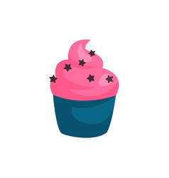 Birthday cupcake or muffin with strawberry cream vector