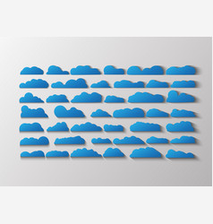 blue flat clouds isolated on grey and white vector image
