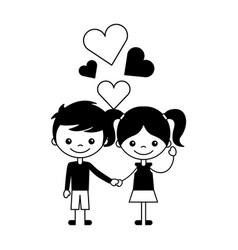 boy and girl love hearts cartoon vector image