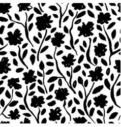 Brush black flowers seamless pattern vector