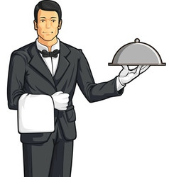 Butler or waiter serving tray food vector