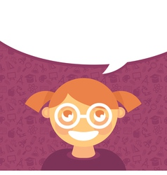 Cartoon girl in glasses with speech bubble vector