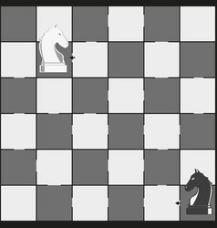 chess board and horses pieces - maze game for vector image