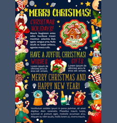christmas greeting card new year gifts vector image
