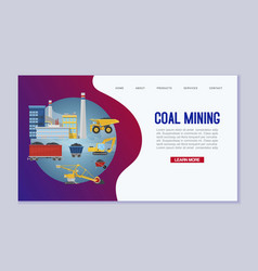 coal mining web template miners transport vector image