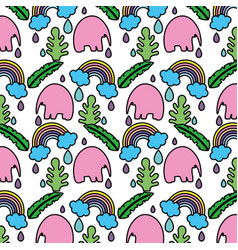 color elephant with plant leaves and rainbow vector image
