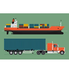 Container Ship and Truck Icon vector