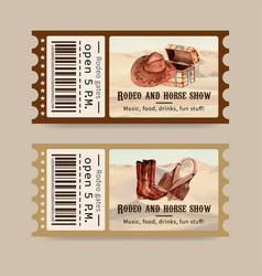 Cowboy ticket design with chest hat boots vest vector