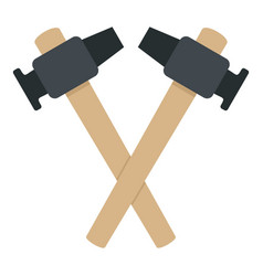 Crossed blacksmith hammer icon isolated vector