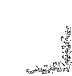 doodle frame with floral branches coloring page vector image