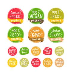 Eco organic bio logos stickers set vector