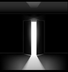 Exit door with light on black empty background vector