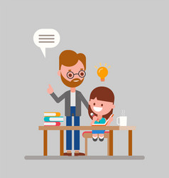 Father helping her daughter with homework vector