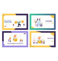 Finance business success character landing page vector
