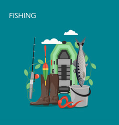 fishing set flat style design vector image