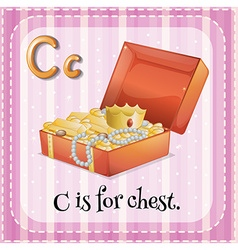 Flashcard letter C is for chest vector