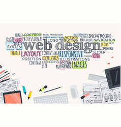Flat design concept for website development vector