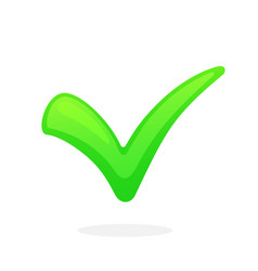 flat green check mark for indicate right choice vector image
