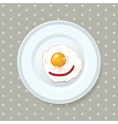 Fried eggs served on a plate vector