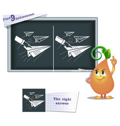 Game find 9 differences paper airplane vector