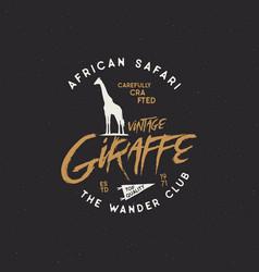 Giraffe badge typography design stock vector
