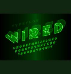 Glowing 3d futuristic sci-fi alphabet creative vector