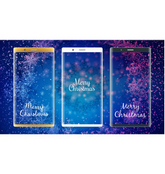 golden white and black smartphones with christmas vector image