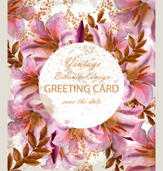 greeting card with beautiful pink flowers golden vector image