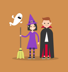 halloween trick or treat set flat set of vector image vector image