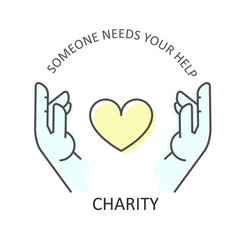 hands embraces heart - charity donation and vector image