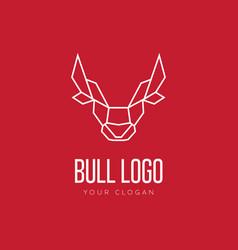 Head bull geometric style logo design vector