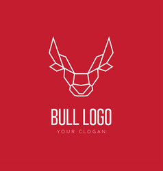 Head of bull geometric style logo design vector