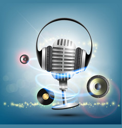 headphones and a retro microphone vinyl record vector image