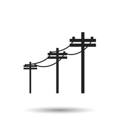 high voltage power lines electric pole icon on vector image