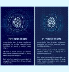 Identification fingerprints posters set vector