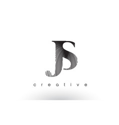 Js logo design with multiple lines and black and vector