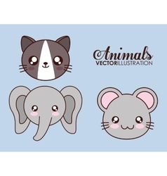 Kawaii cat elephant and mouse icon vector
