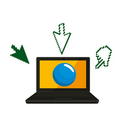 laptop with cursors icons vector image