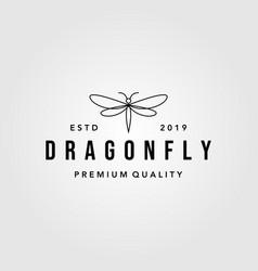 line art dragonfly vintage logo design vector image