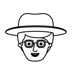 Male face with glasses and fringe up hair and hat vector