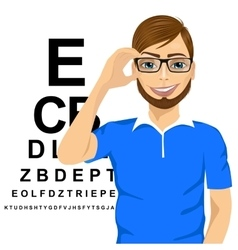 Man with glasses reading sight test characters vector