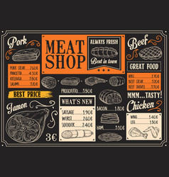 Meat products menu of meat sketch on chalkboard vector