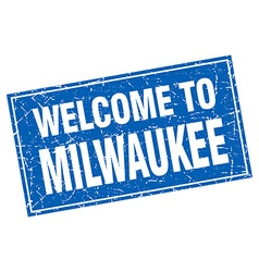 Milwaukee blue square grunge welcome to stamp vector