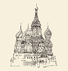 moscow cathedral vasily blessed city vector image