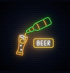 Neon beer sign beer bar advertising design vector