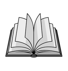 opened book icon in monochrome style isolated on vector image