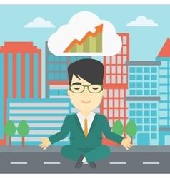 Peaceful businessman doing yoga vector image